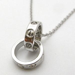 ダブルシルバーリングネックレス(S) h01