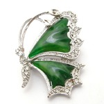 天然石・緑のメノウブローチ/バタフライC