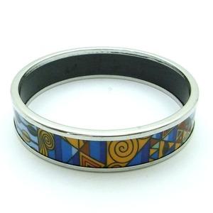 陶器(エマイユ)使いのスリムバングル/ブルーパターン h01