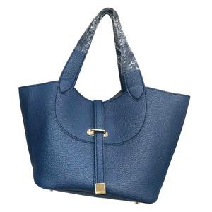 柔らか素材付♪大きく開閉する持ち手長めのシンプルハンドバッグ/ネイビー