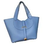柔らか素材付♪大きく開閉する持ち手長めのシンプルハンドバッグ/ブルー