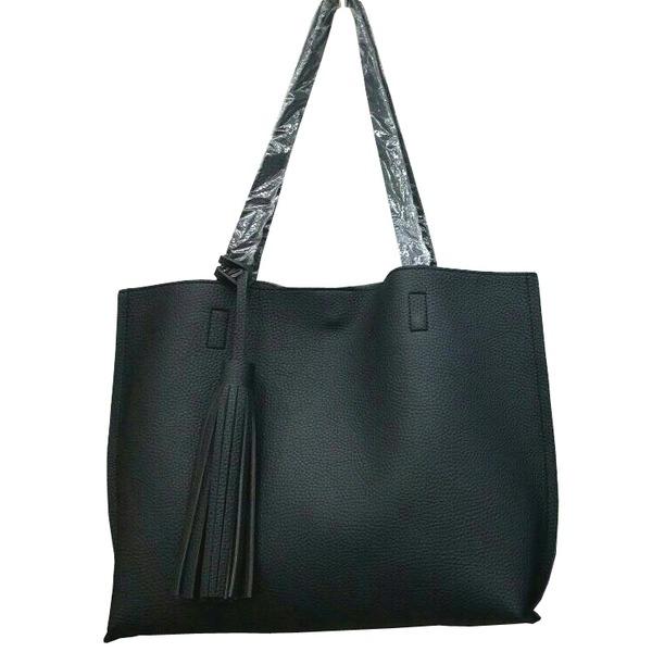 くったり柔らかい♪ビジネスにも普段使いにも使える持ち手長めのトートバッグ/ブラックf00