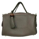 サイドポケット付!柔らか素材のボストン型2Wayハンドバッグ/オリーブ