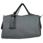サイドポケット付!柔らか素材のボストン型2Wayハンドバッグ/グレイ
