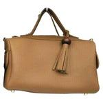 サイドポケット付!柔らか素材のボストン型2Wayハンドバッグ/ブラウン