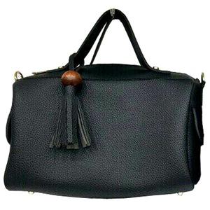 サイドポケット付!柔らか素材のボストン型2Wayハンドバッグ/ブラック h01