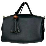 サイドポケット付!柔らか素材のボストン型2Wayハンドバッグ/ブラック