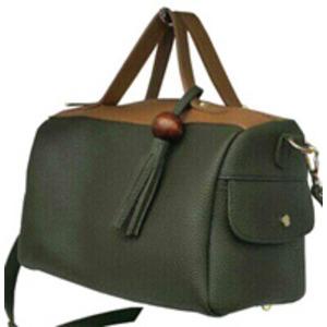 サイドポケット付!柔らか素材のボストン型2Wayハンドバッグ/ブラック h02