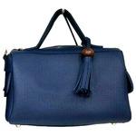 サイドポケット付!柔らか素材のボストン型2Wayハンドバッグ/ネイビー