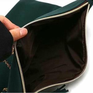 外側にポケット付!クラッチにもなる薄型折りたたみショルダーバッグ/ブラック f04