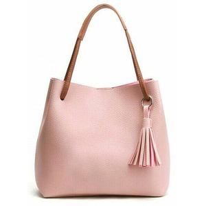 フリンジ付♪パカッと大きく開く細めストラップが上品な2Wayハンドバッグ/ピンク