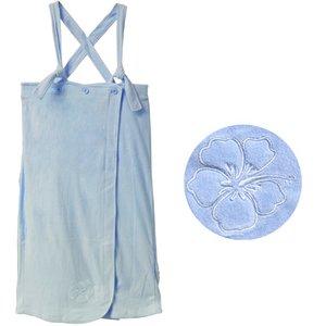 着るタオル♪上質な巻くタオル!お風呂上り用タオル生地のラップドレス/ピンク・ブルー2枚セット