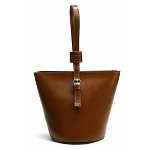 収納力抜群!丸いマチのバケツ型ハンドバッグ/タン