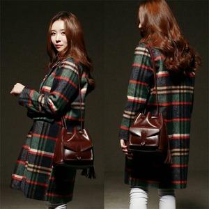 韓国で人気デザイン♪前ポケット付巾着ショルダーバッグ/ブラウン
