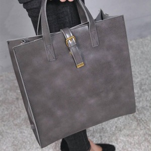 ビジネス仕様!カッチリタイプのシンプルトートバッグ/グレイ