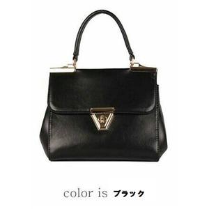 【全7色】ベルトバックルがポイントのクラシカルハンドバッグバッグ/ブラック