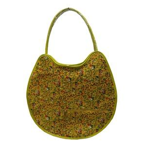 可愛い♪ネコの形の小花柄大きめトートバッグ/イエロー
