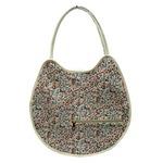 可愛い♪ネコの形の小花柄大きめトートバッグ/アイボリー