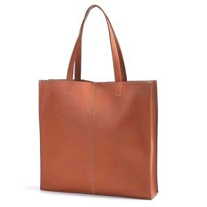 ビジネスにもカジュアルにも!カッチリ正方形のシンプルトートバッグ/ブラウン h01