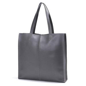 ビジネスにもカジュアルにも!カッチリ正方形のシンプルトートバッグ/グレイ h01