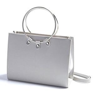マチが広い♪リングが持ち手の2Wayハンドバッグ/グレイ h01