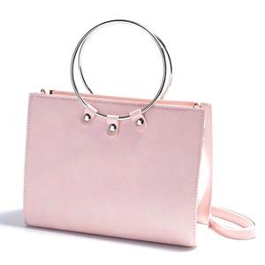 マチが広い♪リングが持ち手の2Wayハンドバッグ/ピンク