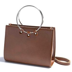 マチが広い♪リングが持ち手の2Wayハンドバッグ/ブラウン h01