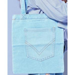 前ポケット付♪サブバッグにもなるデニム素材のトートバッグ/ダークデニム f04