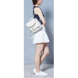 人気の上品スタッズ付!巾着型ミニリュック/ライトグレイ h02