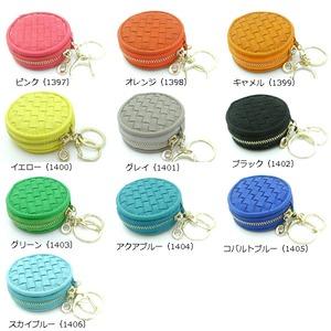 【全10色】 コロンと丸いマカロン型キーケース/メッシュオレンジ