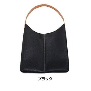 薄いのに収納力あり♪使いやすい柔らかシンプルショルダーバッグ/ブラック h01