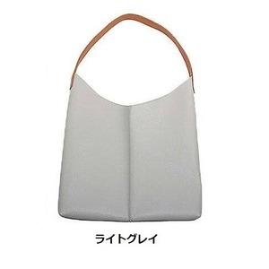 薄いのに収納力あり♪使いやすい柔らかシンプルショルダーバッグ/ライトグレイ h01