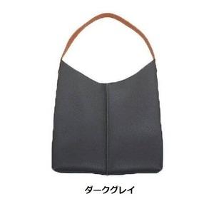 薄いのに収納力あり♪使いやすい柔らかシンプルショルダーバッグ/ダークグレイ h01