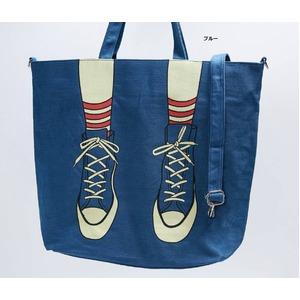 ビックサイズ♪スニーカープリントの2Wayトートバッグ/ブルー