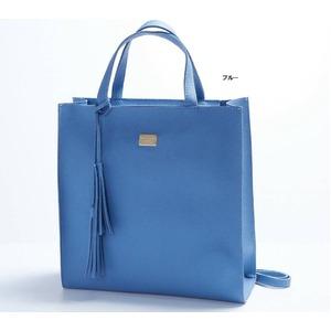 ビジネスに使える♪フリンジ付縦長シンプルトートバッグ/ブルー h01