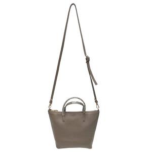くったり柔らかい♪上質素材のファスナー付2Wayトートバッグ/ベージュ h01