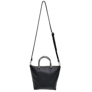 くったり柔らかい♪上質素材のファスナー付2Wayトートバッグ/ブラック h01