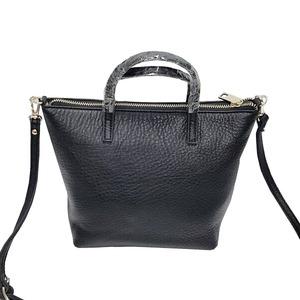 くったり柔らかい♪上質素材のファスナー付2Wayトートバッグ/ブラック h02