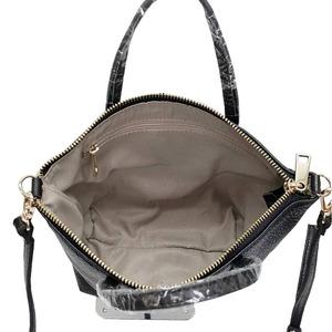 くったり柔らかい♪上質素材のファスナー付2Wayトートバッグ/ブラック h03