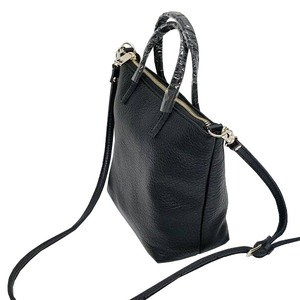 くったり柔らかい♪上質素材のファスナー付2Wayトートバッグ/ブラック f04