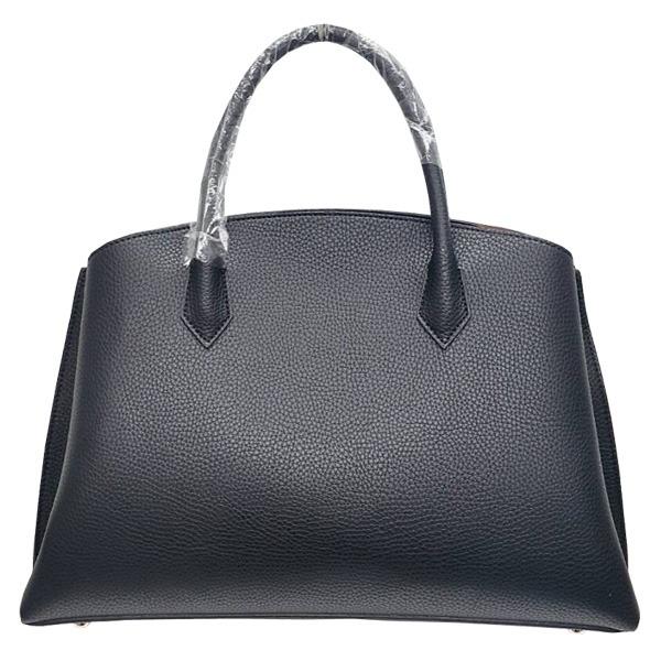 パカッと開く仕切がついたA4サイズもすっぽり入る大きめハンドバッグ/ブラックf00