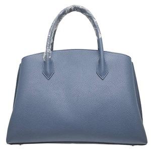 パカッと開く仕切がついたA4サイズもすっぽり入る大きめハンドバッグ/ネイビー