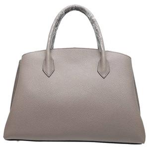 パカッと開く仕切がついたA4サイズもすっぽり入る大きめハンドバッグ/ライトグレイ h01