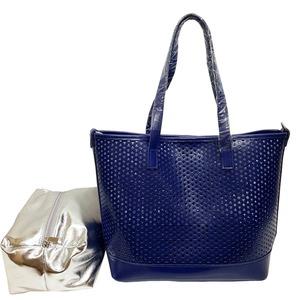 キラキラポーチがポイント!メッシュ素材のトートバッグ/ブルー h01