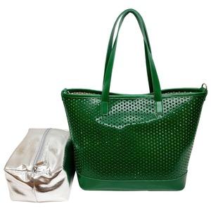 キラキラポーチがポイント!メッシュ素材のトートバッグ/グリーン h01