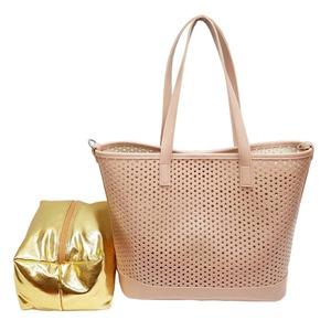 キラキラポーチがポイント!メッシュ素材のトートバッグ/ピンク h01
