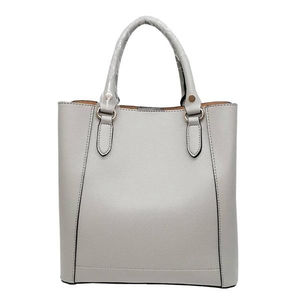 仕切ポケットがついたマチが広い柔らか素材の2Wayハンドバッグ/グレイf00
