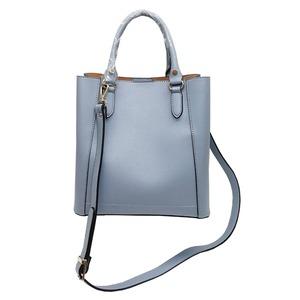 仕切ポケットがついたマチが広い柔らか素材の2Wayハンドバッグ/グレイ h02