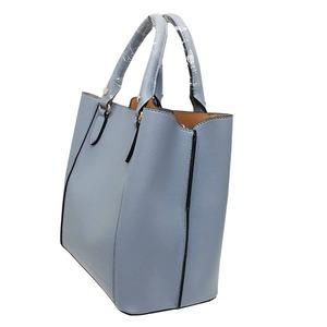 仕切ポケットがついたマチが広い柔らか素材の2Wayハンドバッグ/ネイビー f04