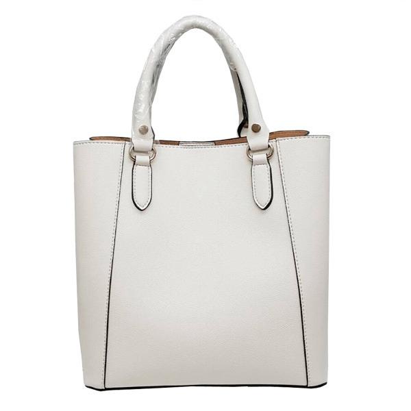 仕切ポケットがついたマチが広い柔らか素材の2Wayハンドバッグ/アイボリーf00